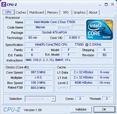 T7600 Darstellung in CPU-Z