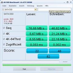 AS-SSD Benchmark mit 2 Fehlern