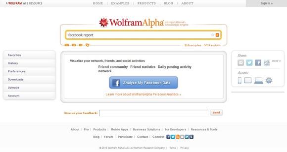 Seite der Facebook Analyse von Wolfram Alpha