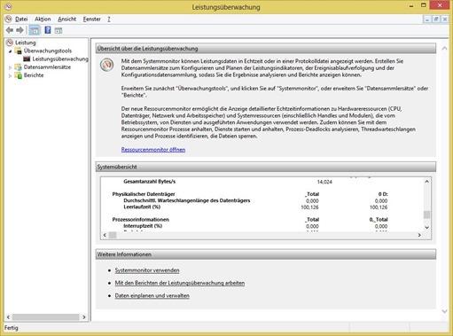 Leistungsüberwachung unter Windows 8