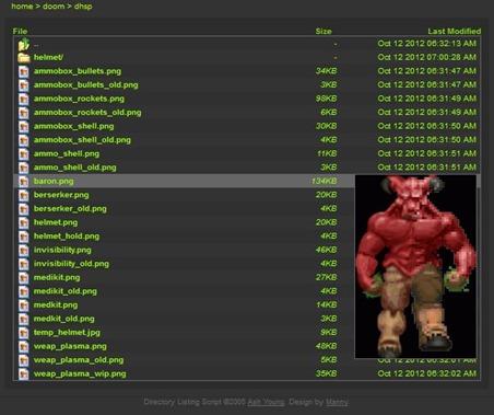 Skriopt auf einer DOOM Seite mit Vorschau - Quelle: http://www.primevil.fr/index.php?dir=doom