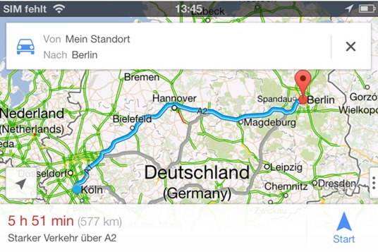 Beispielroute einer Google Maps iPhone App - Bildquelle: http://i.computer-bild.de/imgs/4/6/7/8/4/9/1/Screenshot-23-Google-Maps-iPhone-App-745x559-0a01e0690d93d9d1.jpg