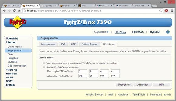 Fritzbox DNS eintragen