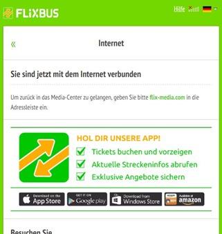 FlixBus - Bestätigungsbildschirm für WLAN / Internetzugriff